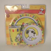 Peanuts 3 Piece Snoopy Joe Cool Plastic Dish Set Includes Cup, Bowl and Plate