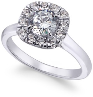 X3 Certified Diamond Halo Engagement Ring (1-3/8 ct. t.w.) in 18k White Gold, Created for Macy's