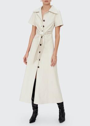 Alexis Jeanie Vegan Leather Tie-Waist Midi Dress