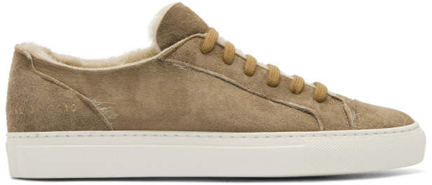 Common Projects Woman by Tan Shearling Tournament Low Sneakers