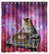 """Cat shower curtain Cool Galaxy DJ Cat Funny Animal Pet Design Mildew Proof Polyester Fabric Shower Curtain with Rings 66"""" x 72"""""""