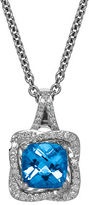 Lord & Taylor Swiss Blue Topaz, Diamond and Sterling Silver Pendant Necklace