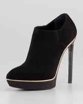 Saint Laurent Janis Metallic-Midsole Platform Bootie, Black