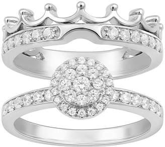 ENCHANTED FINE JEWELRY BY DISNEY Enchanted Disney Fine Jewelry Womens 1/2 CT. T.W. Genuine Diamond 14K Gold Disney Princess Bridal Set