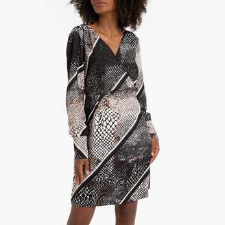 Vero Moda Snake Print Shift Dress with Long Sleeves