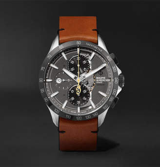 Baume & Mercier Clifton Club Indian Legend Tribute Scout Chronograph 44mm Stainless Steel And Leather Watch, Ref. No. M0a10402