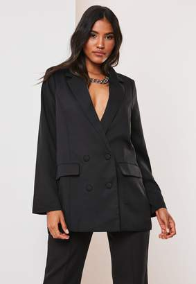 Missguided Petite Black Co Ord Double Breasted Oversized Blazer