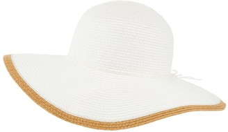 Accessorize Contrast Edge Plain Floppy Hat - White