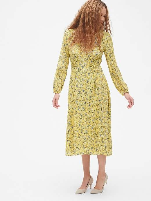 Gap Long Sleeve Flounce Wrap Midi Dress