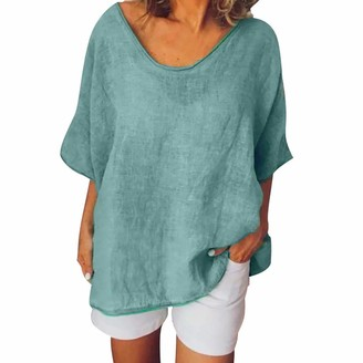 CUTUDE Women's New Cotton Linen Tunic Tee Short Sleeves Plus Size Ladies Shirt Casual Summer Solid O-Neck Tops T-Shirt Blouse (Green 3XL)