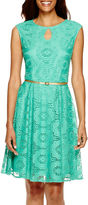 London Times Sleeveless Lace Fit-and-Flare Dress