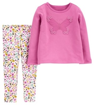 Carter's Baby Girl Butterfly Top and Floral Legging Set