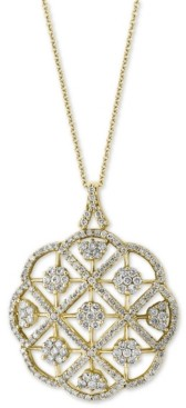 "Effy Diamond Pave Openwork 18"" Pendant Necklace (2-1/10 ct. t.w.) in 14k Gold"