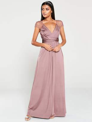 Little Mistress Beaded Mesh Trim Maxi Dress - Mink