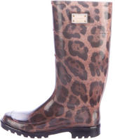 Dolce & Gabbana Leopard Knee-High Rain Boots