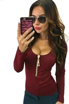 Evensleaves Women Long Sleeve Lace Up Neck T Shirt Casual Slim Tops Blouses
