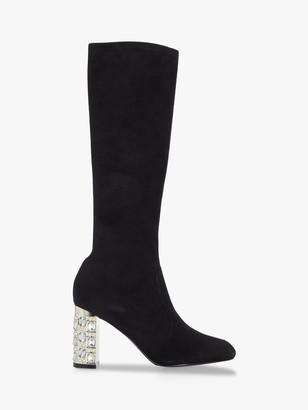 Dune Stargazing Suede Embellished Knee High Boots, Black