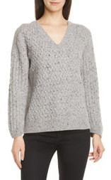 Vince Mini Cable Knit V-Neck Merino Wool Blend Sweater
