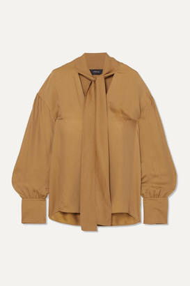 Joseph Olwa Tie-neck Silk-blend Seersucker Blouse - Camel