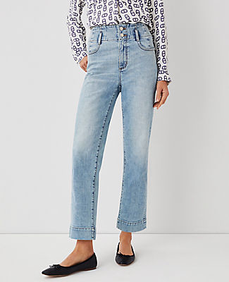 Ann Taylor Quarter Pocket High Rise Corset Easy Straight Jeans in Classic Indigo Wash