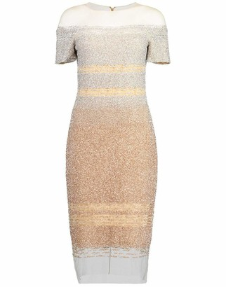 Pamella Roland Silver and Gold Ombre Sequin Embroidered Cocktail Dress