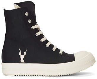 Rick Owens Black and Off-White Twill High-Top Sneakers