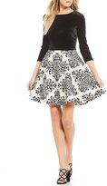 B. Darlin Scroll Print Skirt Fit-And-Flare Dress