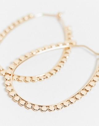 ASOS DESIGN hoop earrings with disc edge in gold tone