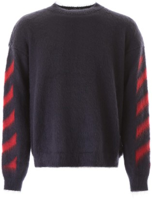 Off-White Diagonal Sleeve Knitted Sweater