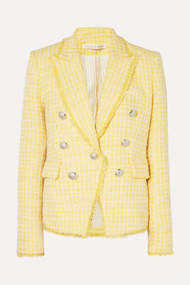 Veronica Beard Dickey Double-breasted Checked Boucle-tweed Blazer - Yellow
