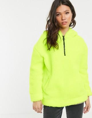 Daisy Street half zip hoodie in neon borg