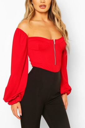 boohoo Cup Detail Off The Shoulder one piece