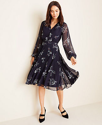 Ann Taylor Petite Floral Pleated Flare Dress
