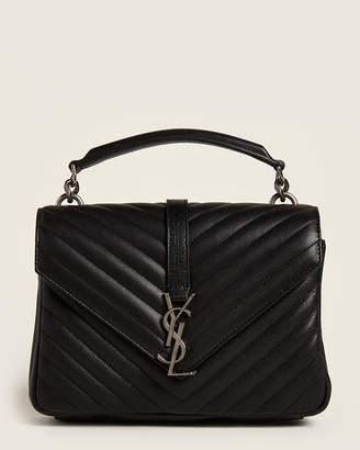 Saint Laurent Black College Medium Matelasse Shoulder Bag