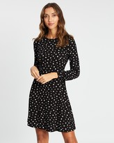 Dorothy Perkins Mono Spot Empire Fit-and-Flare Dress