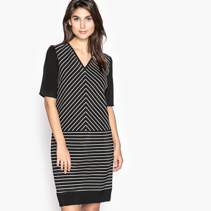 Anne Weyburn Striped Knitted Shift Dress with 3/4 Length Sleeves