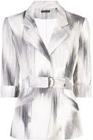 Josie Natori two-tone belted jacket