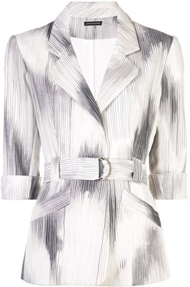 Josie Natori Two-Tone Belted Jacket