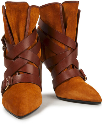 Balmain Jackie Buckled Suede Ankle Boots