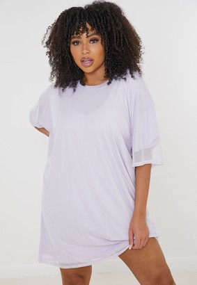 Missguided Plus Size Lilac Mesh Overlay T Shirt Dress