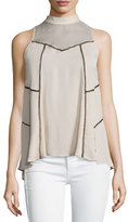 Haute Hippie Sleeveless Paneled Silk Top, Buff