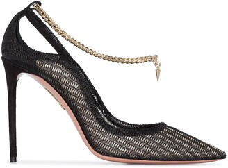 Aquazzura Bond Girl 105mm chain-trim pumps