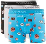 Topman Black And Blue Racing Trunks 3 Pack