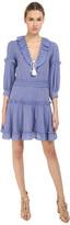 Just Cavalli Woven Ruffle Front 3/4 Sleeve Dress