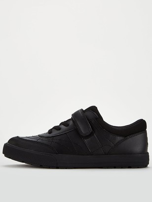 Very Boys Lace Leather Trainer School Shoe - Black