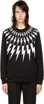 Neil Barrett Black and White Fairisle Thunderbolt Sweatshirt