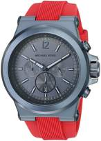 Michael Kors Men's 'Dylan' Quartz Stainless Steel and Silicone Casual Watch, Color:Red (Model: MK8558)