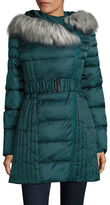 Betsey Johnson Faux Fur-Trimmed Hooded Puffer Jacket