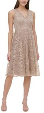 Tommy Hilfiger Petite Floral Lace Fit & Flare Midi Dress