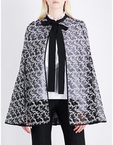 Erdem Floral-embroidered silk-organza cape